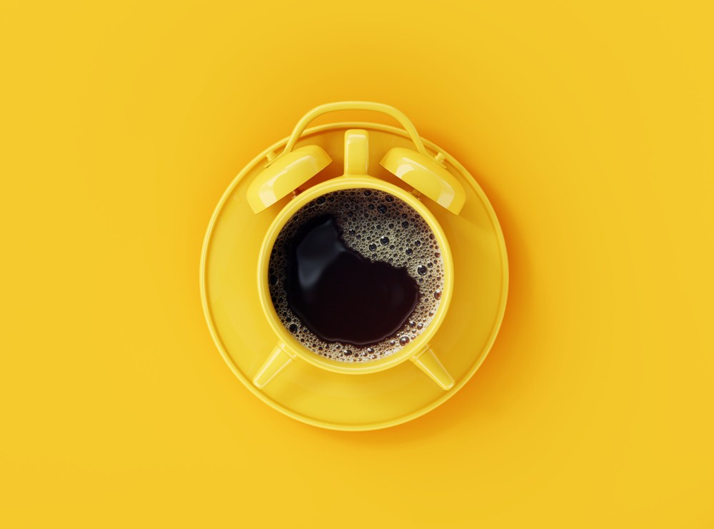 Coffee,Clock,On,Yellow,Background.,Creative,Idea.,Minimal,Concept